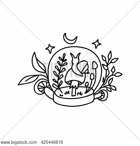 Single Hand Drawn Snail Sits On A Mushroom And Looks At The Moon. Doodle Vector Illustration. Isolat