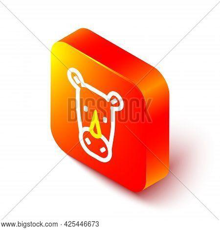 Isometric Line Rhinoceros Icon Isolated On White Background. Animal Symbol. Orange Square Button. Ve