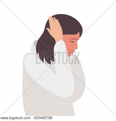Headache. Young Woman Holds Her Hand To Her Head, Experiencing Headache, Migraines, Stress, Depressi