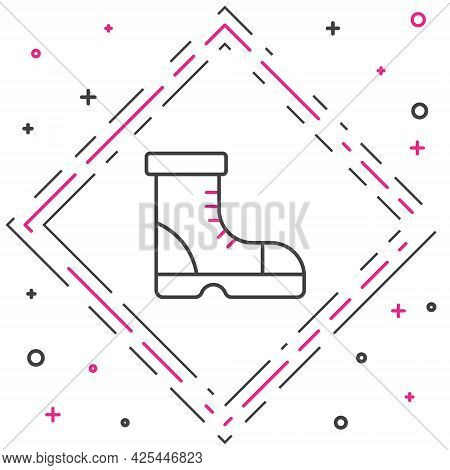Line Hunter Boots Icon Isolated On White Background. Colorful Outline Concept. Vector