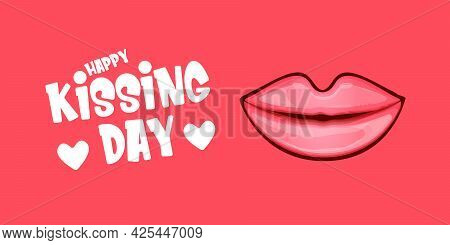 Happy Kissing Day Horizontal Banner With Cartoon Glossy Red Lips Isolated On Pink Background. Kiss D