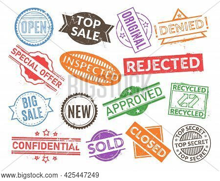 Set Of Commercial Grunge Textured Stamp Vector Flat Illustration. Collection Of Business Blank