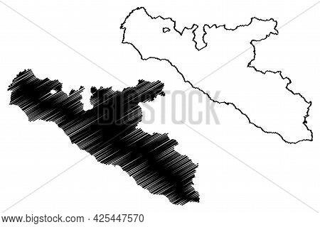 Free Municipal Consortium Of Agrigento (italy, Italian Republic, Sicily Region) Map Vector Illustrat
