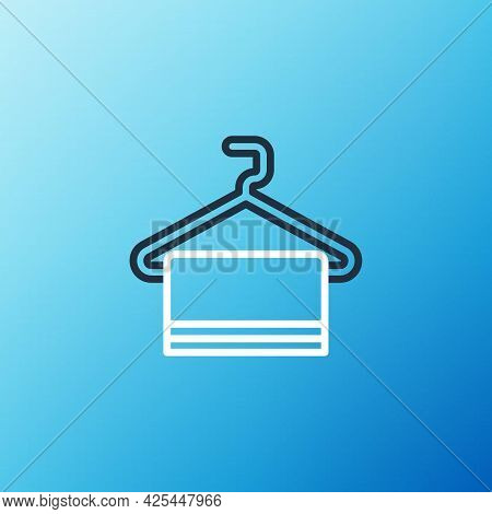 Line Towel On Hanger Icon Isolated On Blue Background. Bathroom Towel Icon. Colorful Outline Concept