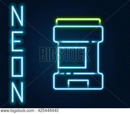 Glowing Neon Line Antiperspirant Deodorant Roll Icon Isolated On Black Background. Cosmetic For Body