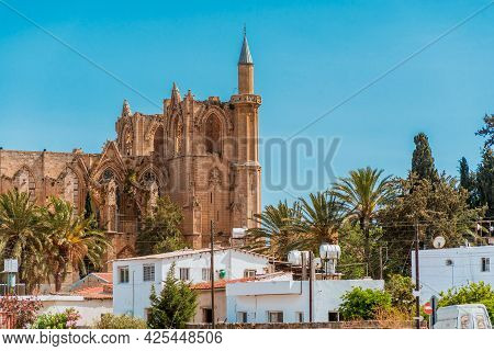 Famagusta Cityscape With Lala Mustafa Pasha Mosque. Famagusta District, Cyprus