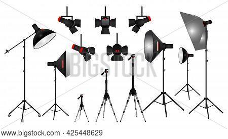 Set Of Realistic Photo Studio White Blank Background Isolated Or Set Up Photo Scene With Soft Box Li