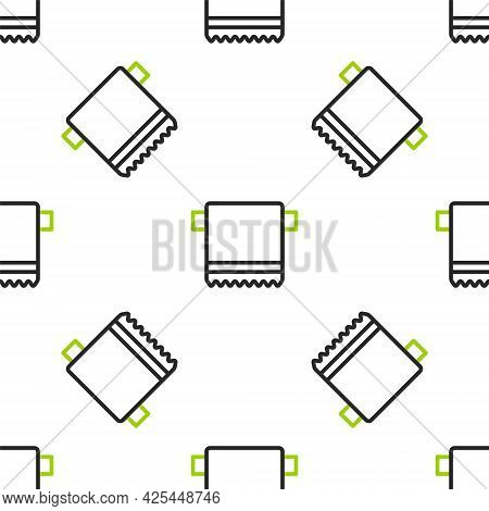 Line Towel On Hanger Icon Isolated Seamless Pattern On White Background. Bathroom Towel Icon. Vector