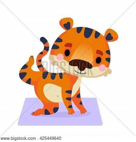 A Tiger Cub Is Standing In A Cat Pose With A Raised Leg On A Yoga Mat. Fitness Tiger Cub. Vector Ill