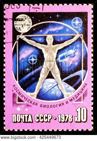 Russia, Ussr - Circa 1978: A Postage Stamp From Ussr Showing Interkosmos Space Biology And Medicine