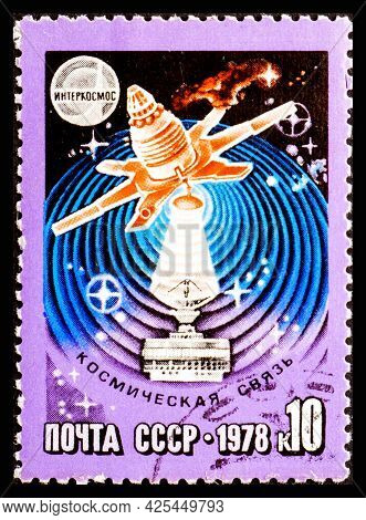 Russia, Ussr - Circa 1978: A Postage Stamp From Ussr Showing Interkosmos Space Communication