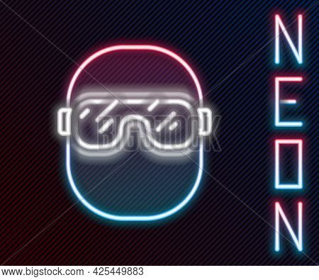 Glowing Neon Line Ski Goggles Icon Isolated On Black Background. Extreme Sport. Sport Equipment. Col