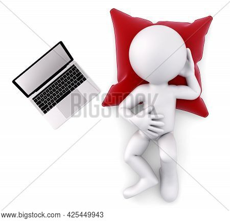Weary Man Lying With Laptop. 3d Illustration. Isolated