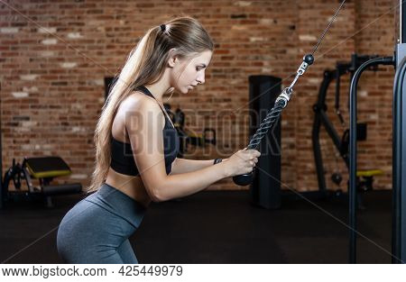 Woman Training Triceps. Young Attractive Woman With Perfect Body Doing Exercise With Cable Exercise