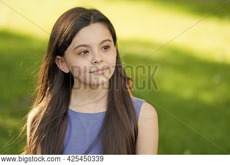 Beautify Your Hair Today. Little Girl Wear Long Hair Sunny Outdoors. Beauty Look Of Small Hair Model
