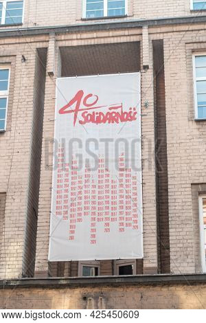 Pila, Poland - May 31, 2021: 40 Years Of Solidarity. Solidarnosc Is  Is A Trade Union Founded In Aug
