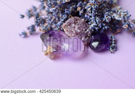 Beautiful Amethyst Crystals And Round Rose Quartz Stone With Dry Lavender Bouquet. Magic Amulets. Co
