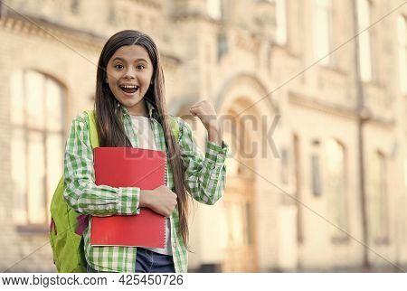 Educating For Future. Happy Child Smile With Books Outdoors. School Education. Educational Perspecti