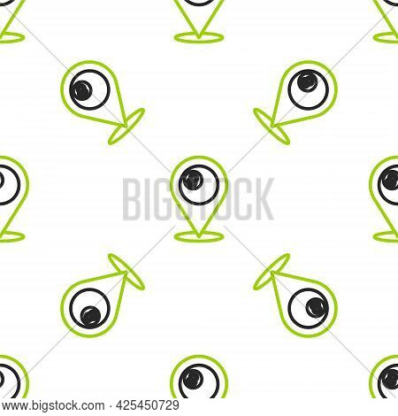 Line Map Pointer With Billiard Pool Snooker Ball With Number 8 Icon Isolated Seamless Pattern On Whi