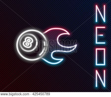 Glowing Neon Line Billiard Pool Snooker Ball With Number 8 Icon Isolated On Black Background. Colorf