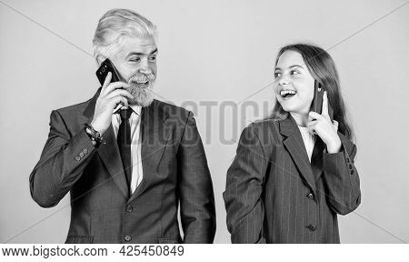 Great Job. Business Discussion. Businessman Speak On Phone With Small Girl. Bearded Dad Dyed Hair. K