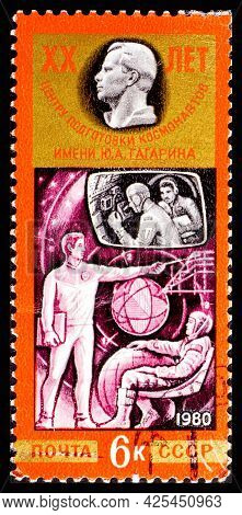 Russia, Ussr - Circa 1980: A Postage Stamp From Ussr Showing Interkosmos Yuri Alekseyevich Gagarin