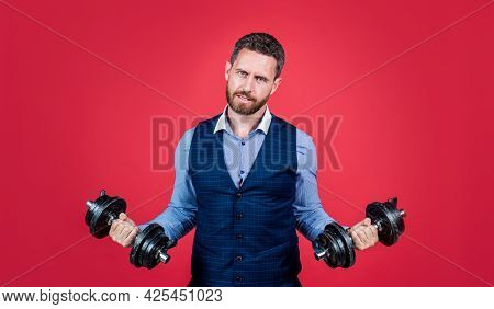 Keep Your Business Strong. Professional Man Hold Hand Weights. Business Strength. Strength Training