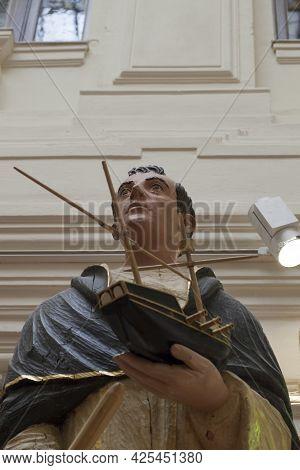 Madrid, Spain - March 6th, 2021: Figurehead Of Spanish 18th Century Ship-of-line. Saint Representati