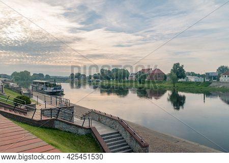 Gorzow Wielkopolski, Poland - June 1, 2021: Warta River And Warta Boulevards At Sunrise.