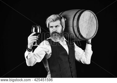 Homemade Wine. Producing Wine Family Tradition. Man Bearded Hipster Wooden Barrel For Wine Black Bac