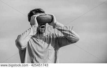 Guy Virtual Reality Goggles. Macho Man Wear Wireless Vr Glasses.. Sexy Man Sky Background Vr Glasses