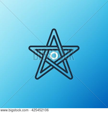 Line Pentagram Icon Isolated On Blue Background. Magic Occult Star Symbol. Colorful Outline Concept.