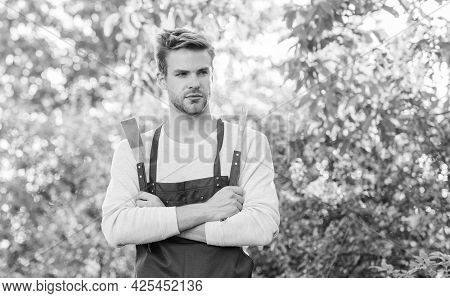 Picnic Concept. Bbq Chef. Summer Weekend. Tools For Roasting Meat Outdoors. Barbeque Party. Handsome