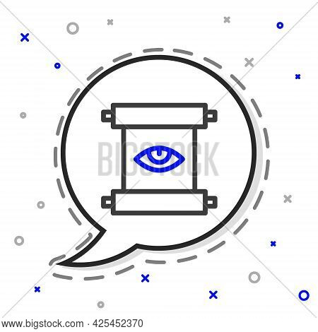 Line Ancient Magic Scroll With Alchemy Recipes And Mystic Spells And Enchantments Icon Isolated On W