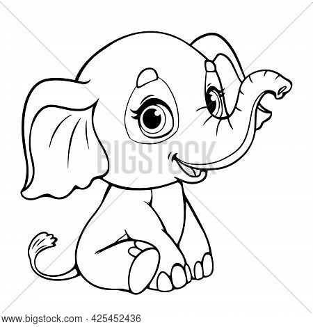 Baby Elephant Cute Cartoon For Coloring Book. Vector Illustration Of A Black Line Outline. Figure Of