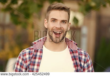 Add Smiling Moment To Your Life. Happy Guy Smile Outdoors. Dental Hygiene. Oral Care Products. Teeth