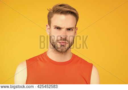 Seriousness Itself. Unshaven Guy With Bristle. Male Sporty Fashion. Confident Man In Fitness Vest. M
