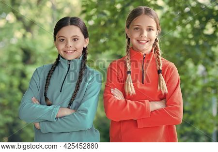 Comfortable And Casual. Happy Children Wear Casual Style Outdoors. Casual Kids Wardrobe. Fashion Tre
