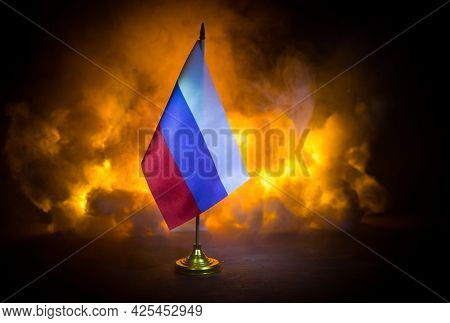 Concept Of Crisis Of War And Political Conflicts Between Countries. Russia And Ukraine Small Flags O