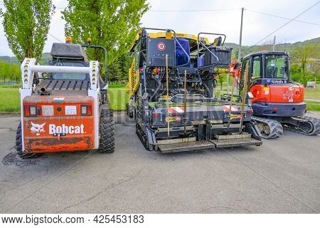 June 2021 Parma, Italy: Different Heavy Road Machines Parked In The City Ready For Road Construction