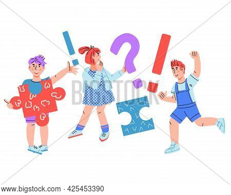 Smart Thinking School Children Girl And Boy With Question And Exclamation Marks, Cartoon Vector Illu