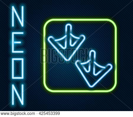Glowing Neon Line Goose Paw Footprint Icon Isolated On Black Background. Colorful Outline Concept. V