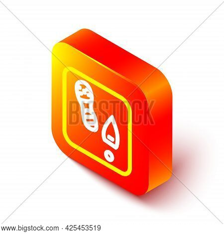 Isometric Line Human Footprints Shoes Icon Isolated On White Background. Shoes Sole. Orange Square B