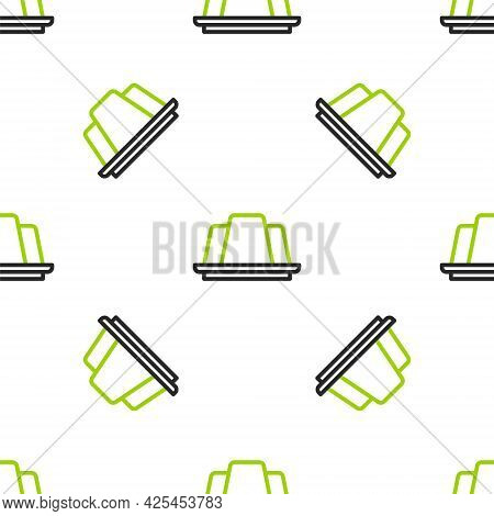 Line Jelly Cake Icon Isolated Seamless Pattern On White Background. Jelly Pudding. Vector