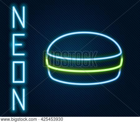 Glowing Neon Line Macaron Cookie Icon Isolated On Black Background. Macaroon Sweet Bakery. Colorful