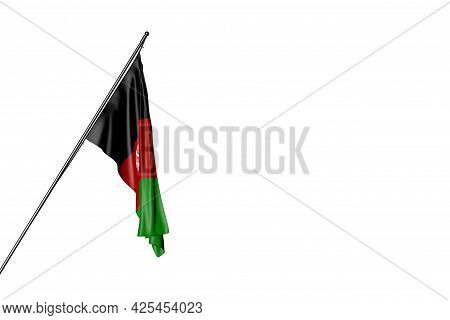 Wonderful Anthem Day Flag 3d Illustration  - Afghanistan Flag Hangs On A Diagonal Pole Isolated On W