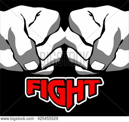 Vector Design Of Two Fists Clenched Against Each Other. Fight Symbol Illustration, Fight