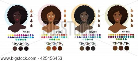 Black Women Color Type Appearance Winter, Spring, Summer, Autumn. Four Types Of Skin Color Set. Fash