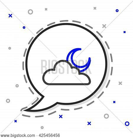 Line Cloud With Moon Icon Isolated On White Background. Cloudy Night Sign. Sleep Dreams Symbol. Nigh
