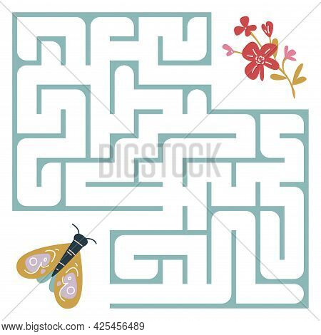The Moth Flies To The Red Flower Through The Maze. Square Maze. Labyrinth For A Child S Problem. The